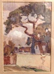 """Olio su cartoncino, firmato e datato in basso a destra 1929 e titolato sul retro """" Tiglio di vicolo della Rosta """""""